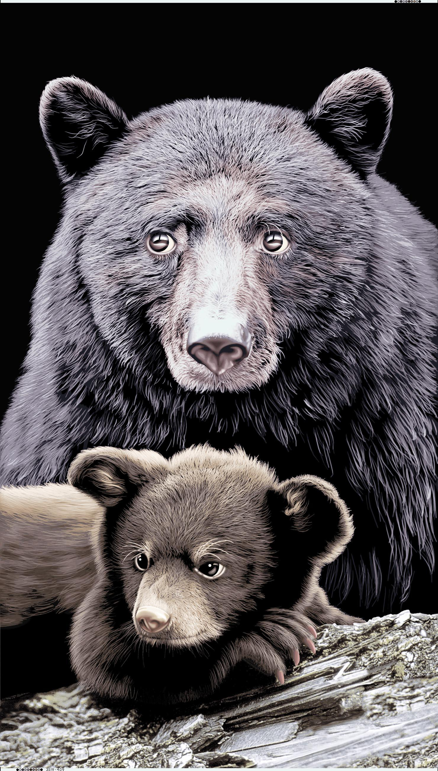 BLACK BEAR AND CUB TOWEL