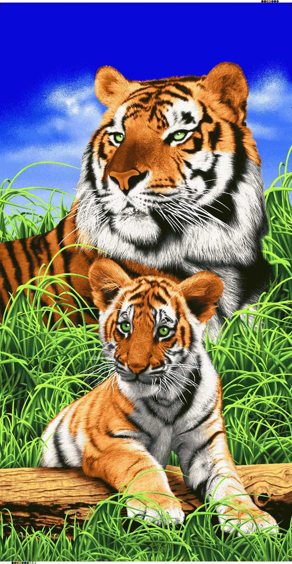 BENGAL TIGER AND CUB TOWEL