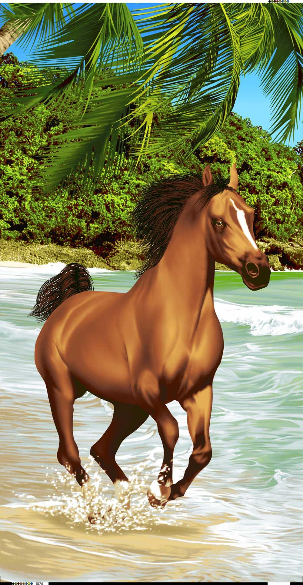 BR1576 Secretariat Horse on Beach
